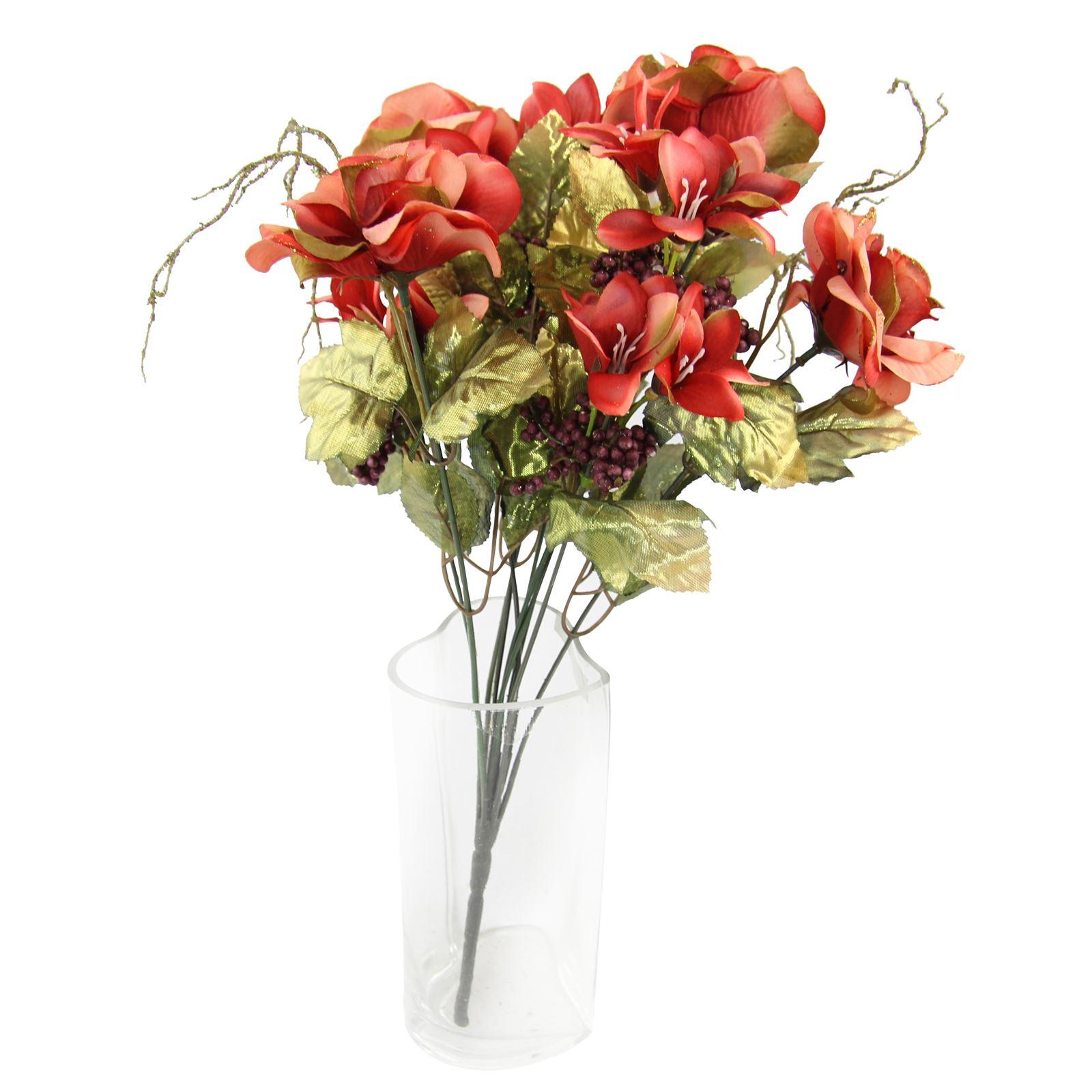 Rose And Alstroemeria Glitter Bouquet Artificial Silk Flowers
