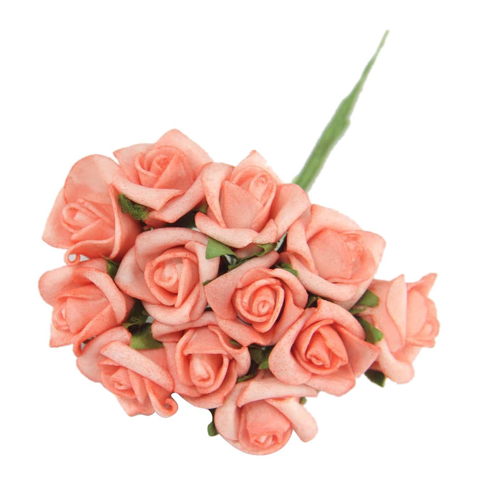 Home bulk roses peach roses - Bundles Of 12 Mini Foam Rose Bunches Bulk