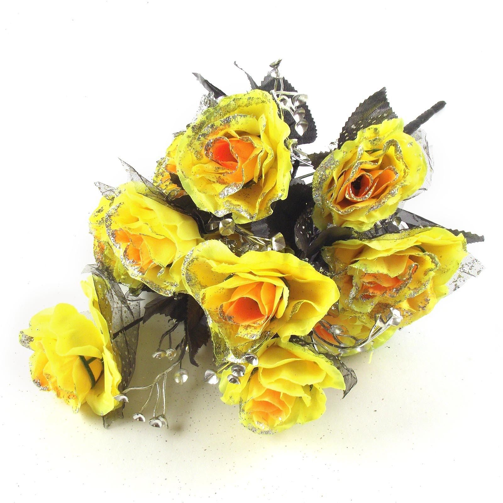 12 head large glitter rose buds bunch bouquet artificial flowers flowers fake silk picture 2 of 2 mightylinksfo
