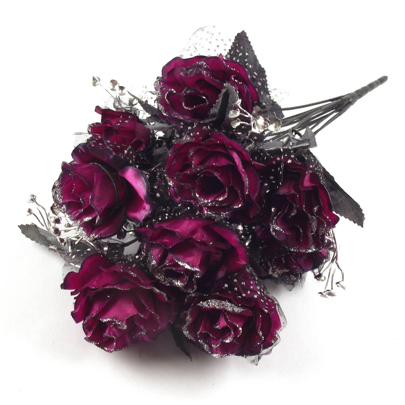 12 Head Large Glitter Rose Buds Bunch Bouquet Artificial Flowers ...