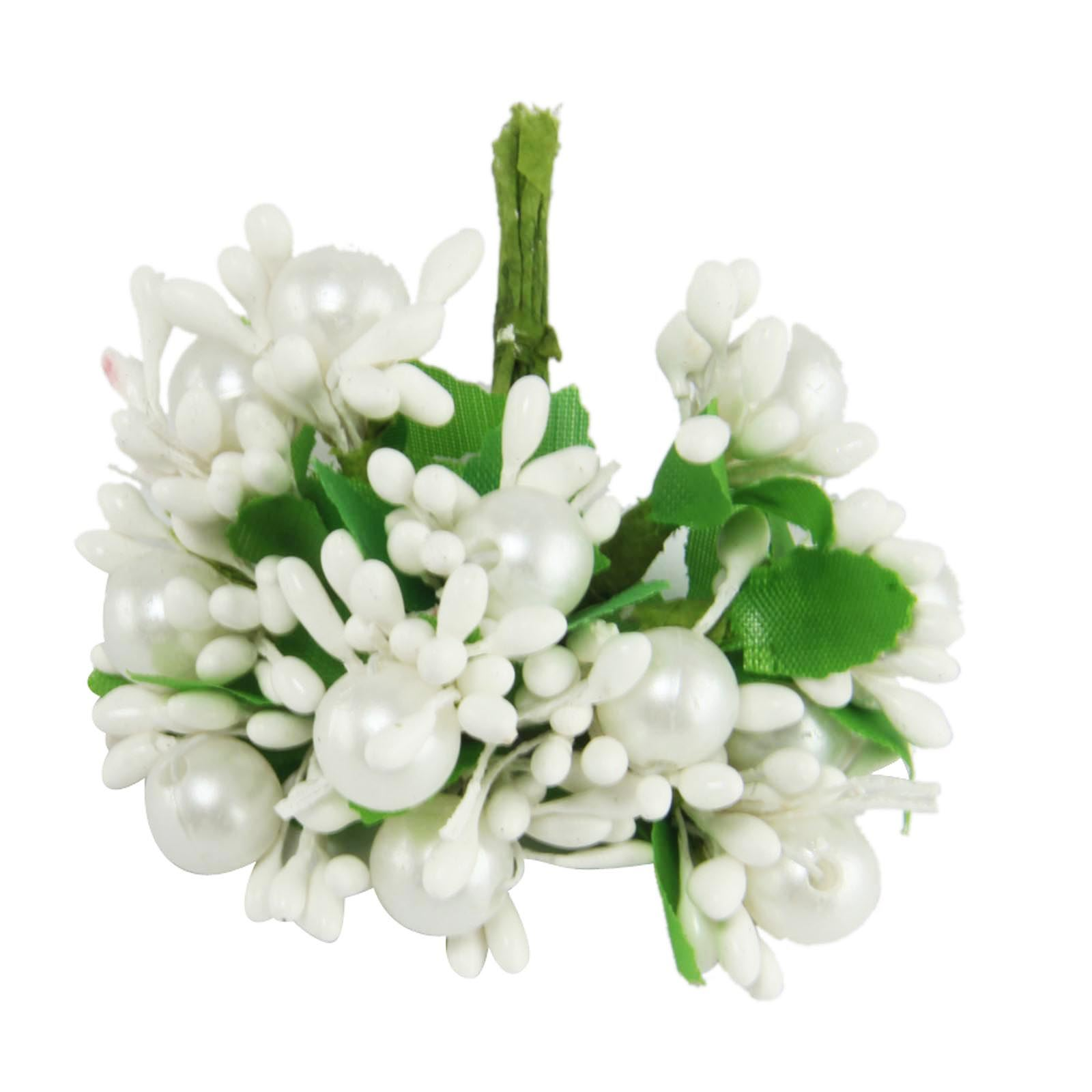 Small Bunch Of Pearl And Stamen Embellishment Flowers Craft Card