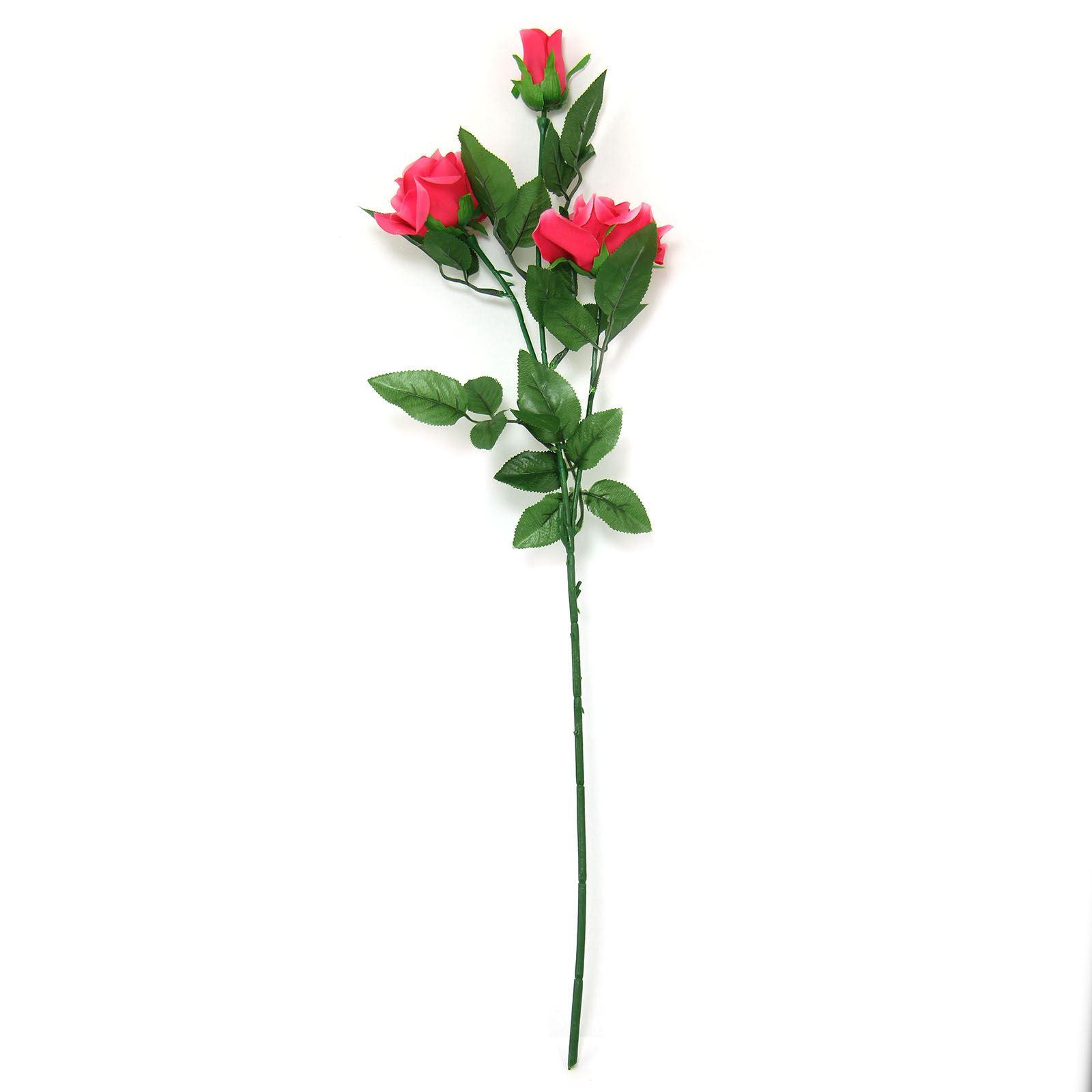 3 Head Eco Rose Spray Artificial Silk Flowers Long Stemmed Home