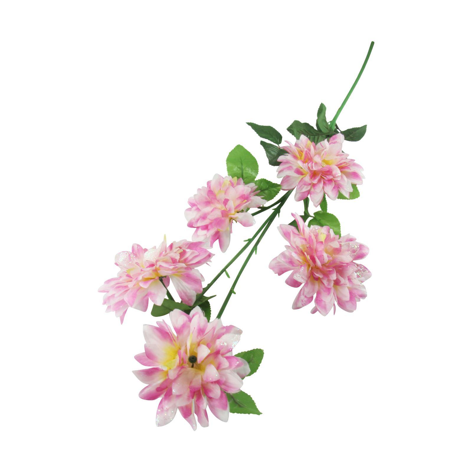 5 Head Spiky Glitter Mum Spray Artificial Silk Flowers Fake Stem