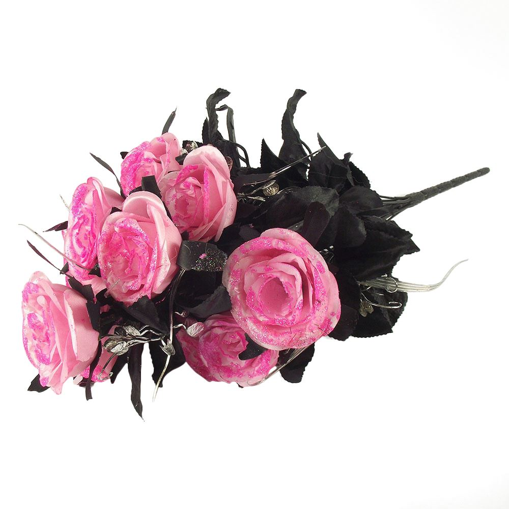 Bling Glittered Black Rose Bunches Bouquet Gothic Artificial Flowers