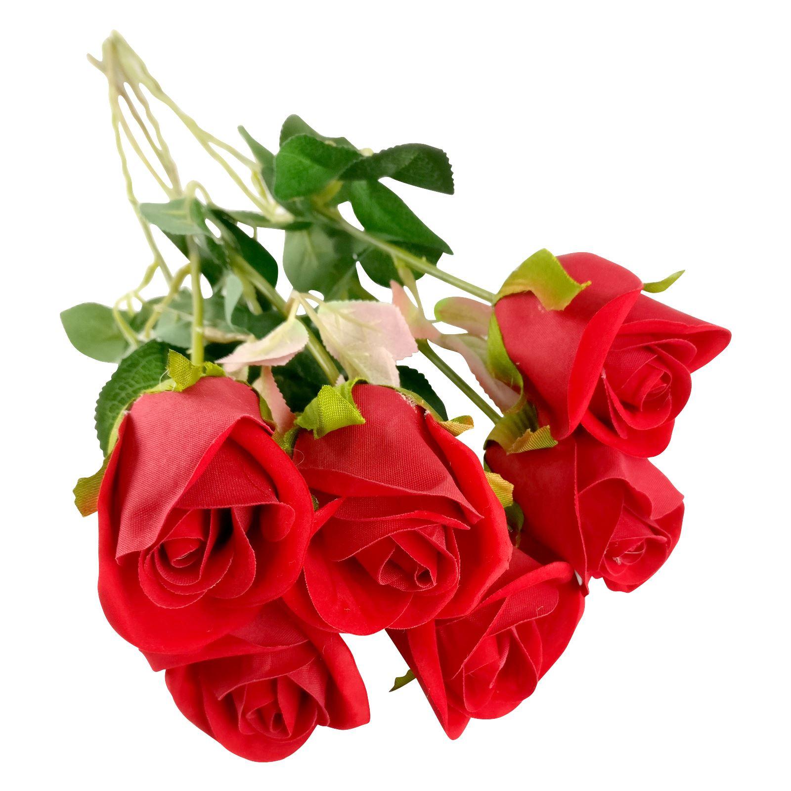 Premium Velvet Rose Buds Deluxe Silk Fake Valentines Red Roses Ebay
