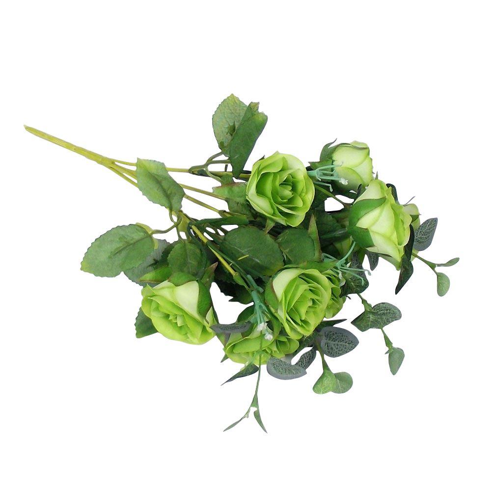 10 Head Semi Open Rose Small Bouquet Artificial Flowers Fake Silk