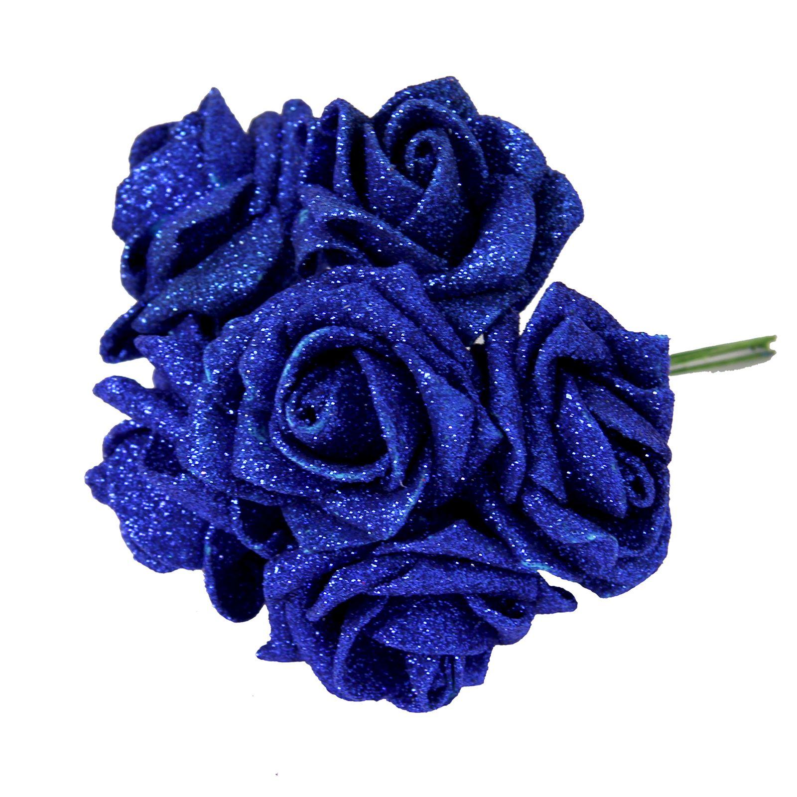 36x Full Glittered Foam Roses Bling Artificial Glitter Fake