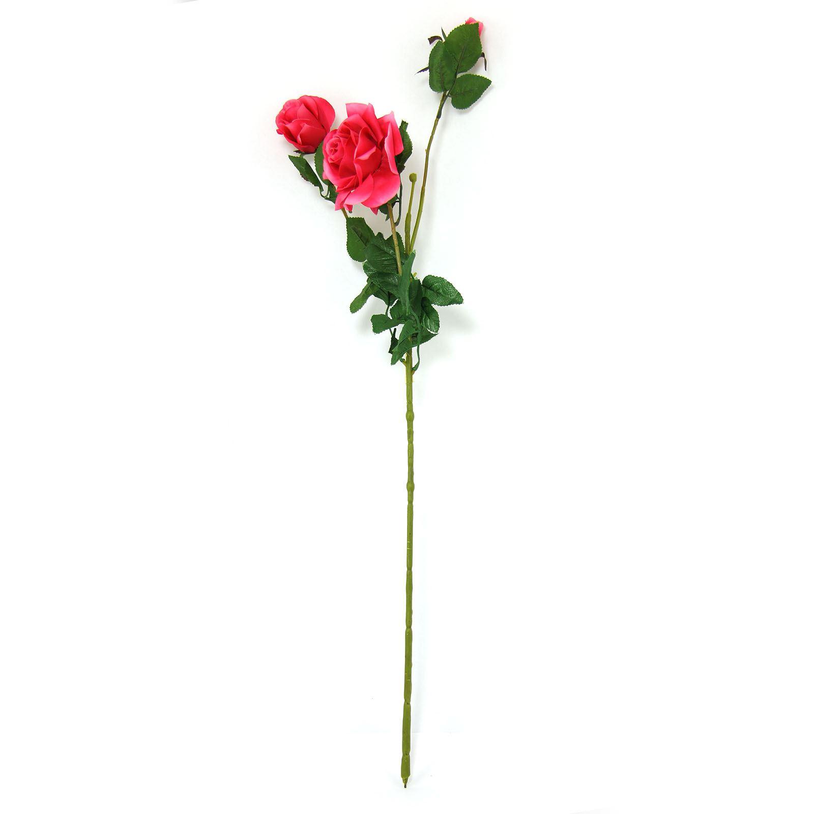 3 Head Firm Rose Spray Artificial Silk Flowers Long Stemmed Home