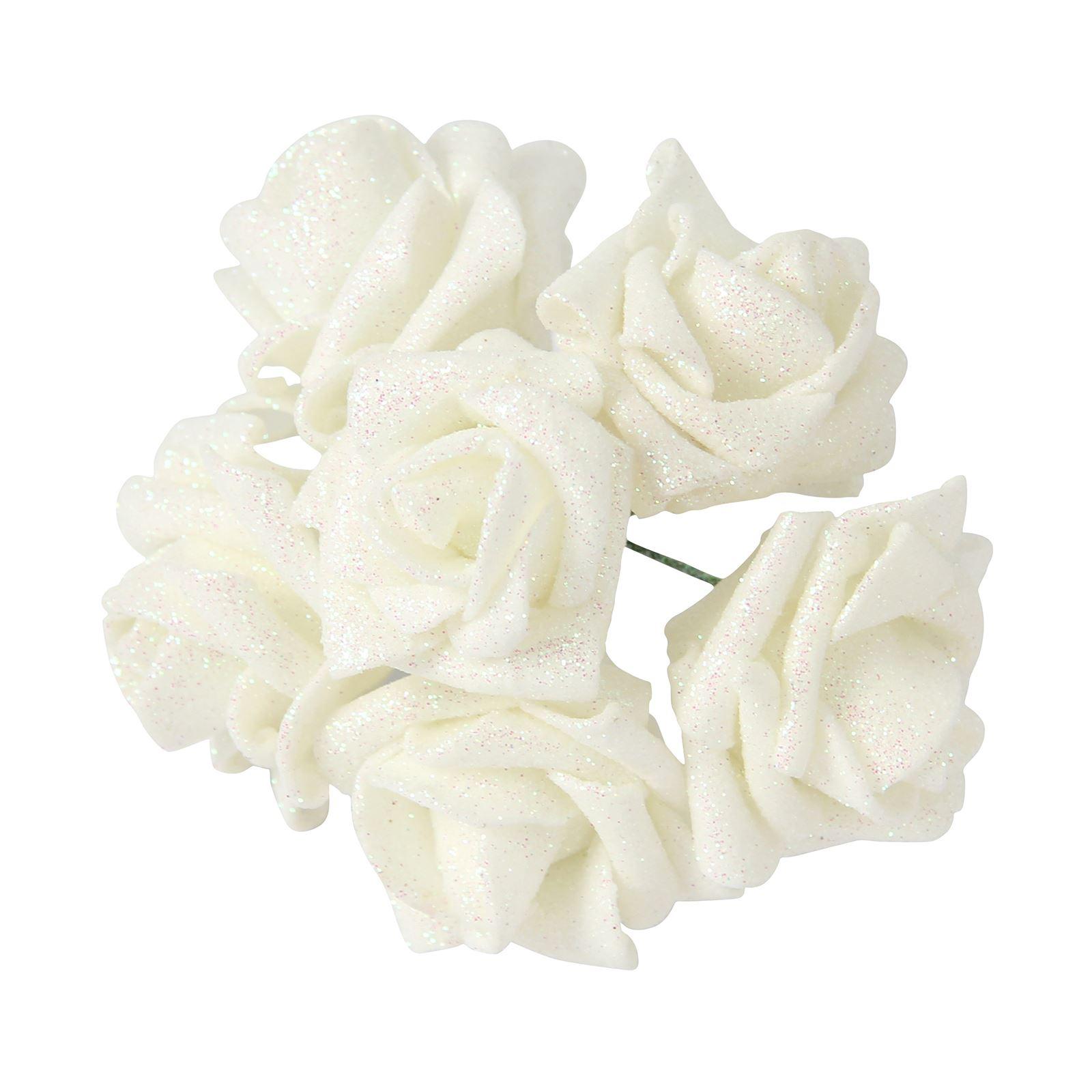 36x full glittered foam roses bling artificial glitter fake flowers picture 2 of 2 mightylinksfo