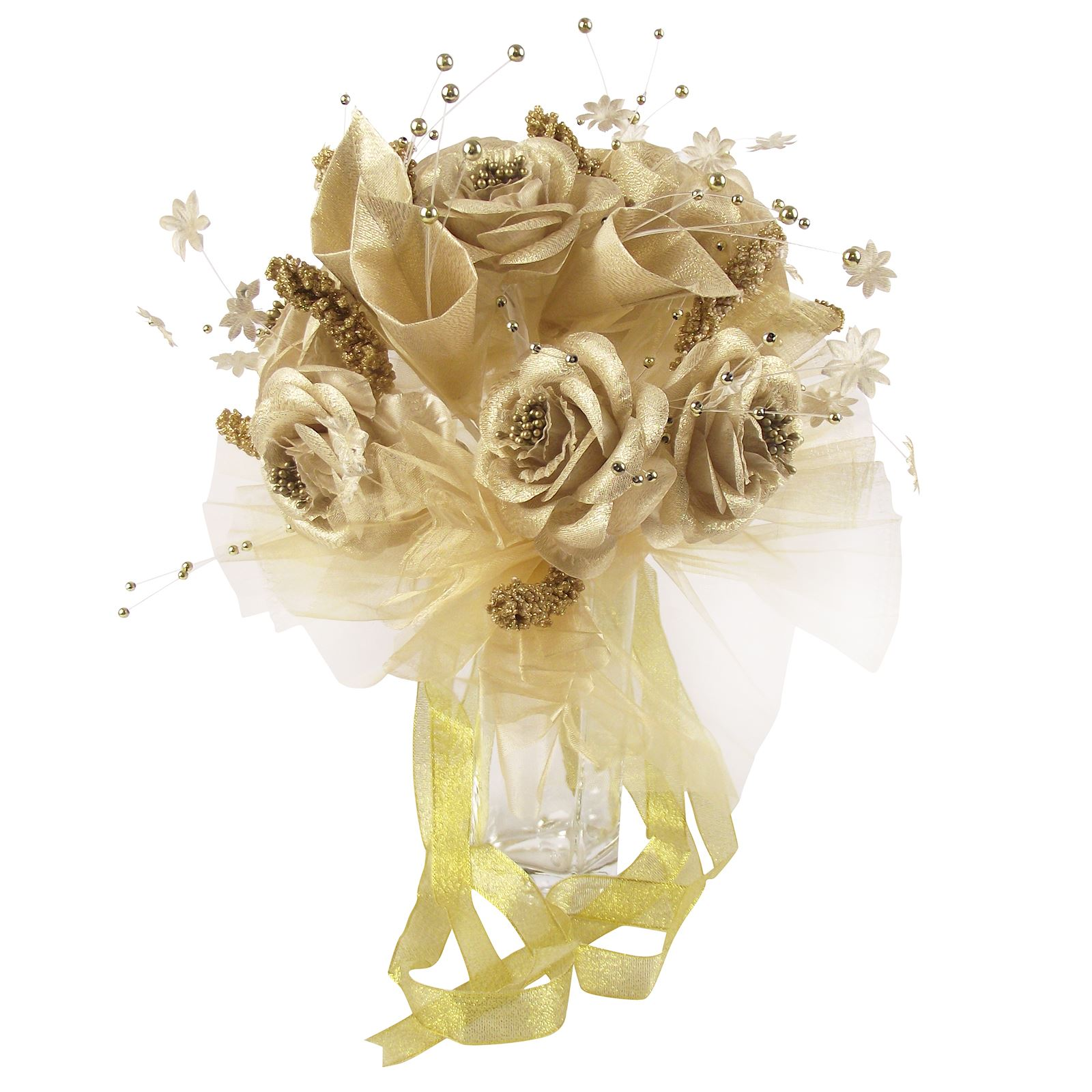 White And Gold Wedding Flowers: Metallic Gold Or Silver Bridal Bouquet! Bride Wedding Fake