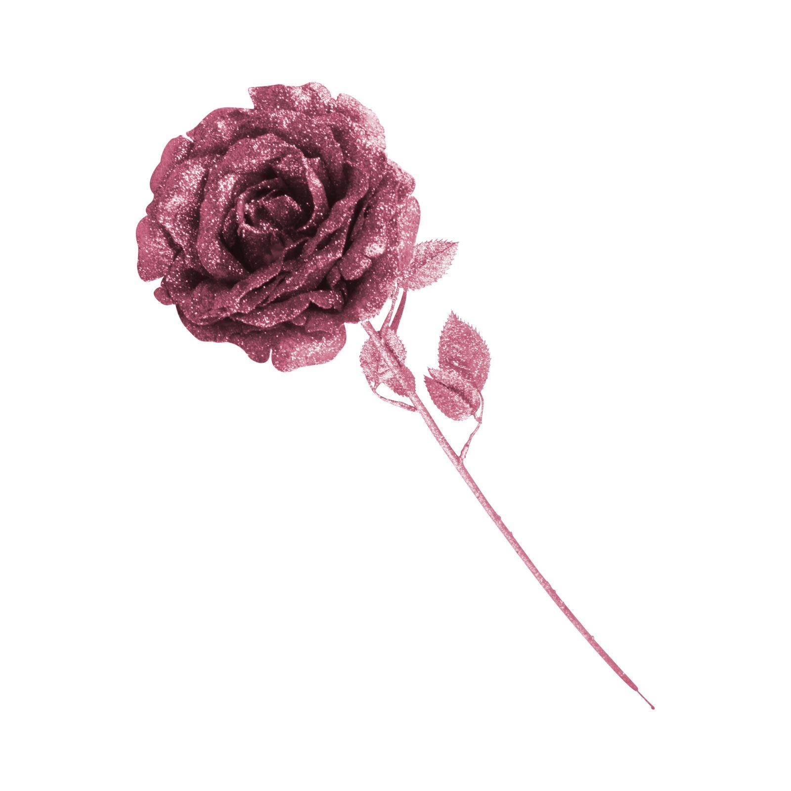 Heavy Glittered Large Single Rose Glitter Flowers Glittery Silk