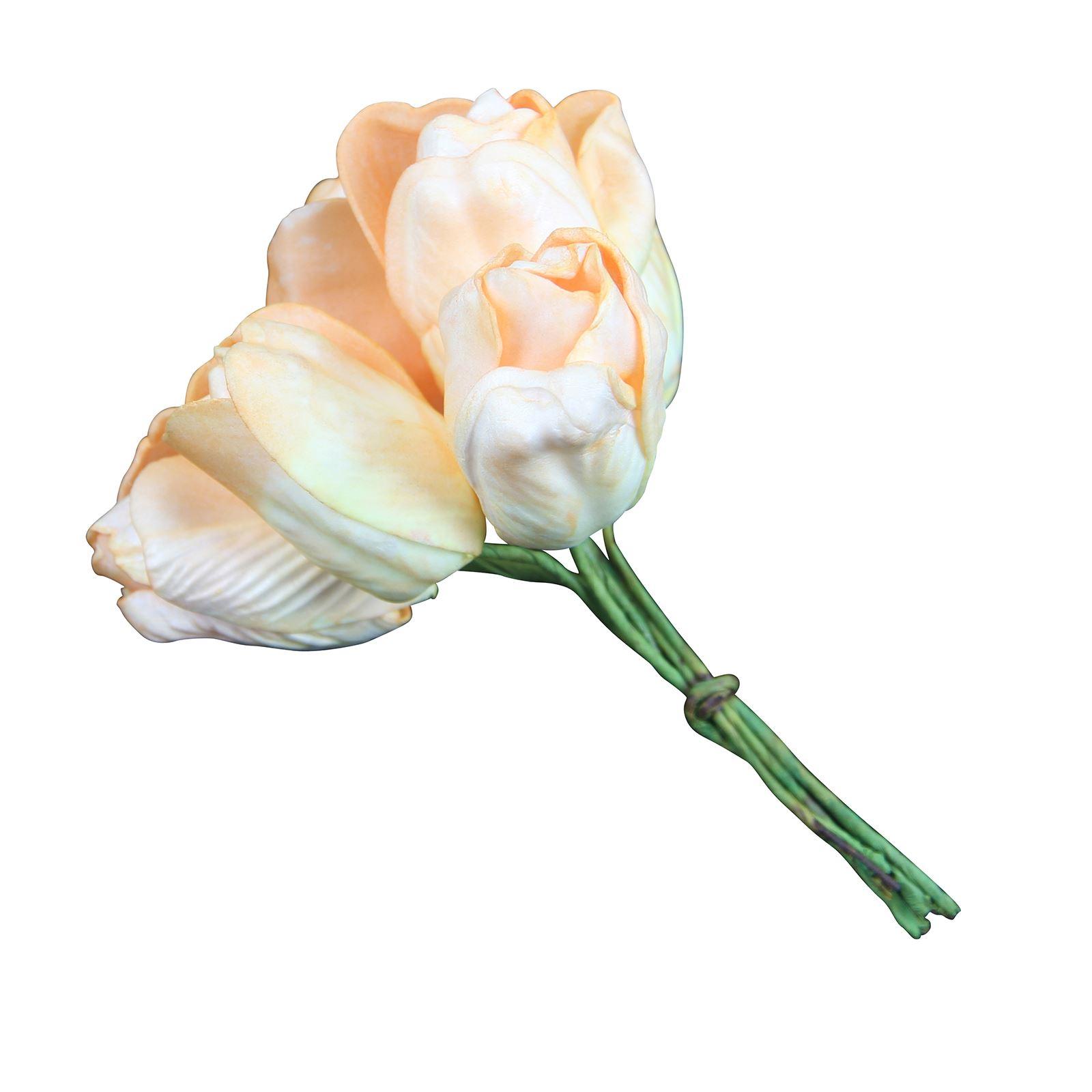 Bunch of 6 Foam Tulips  Artificial Silk Flowers Mini Bunch Bouquet Fake  eBay