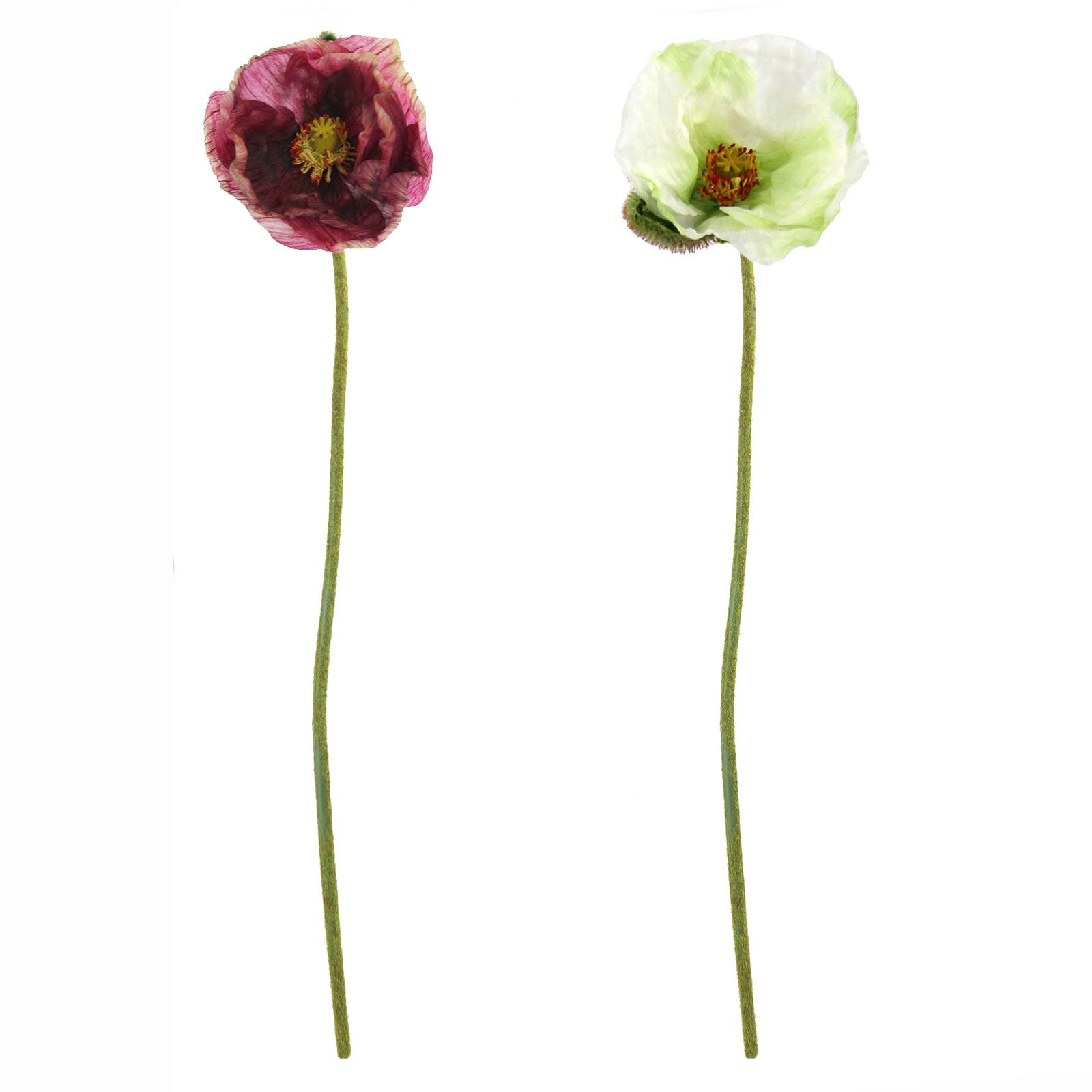Single Premium Poppy Stem Artificial Silk Fake Flowers Long Spray