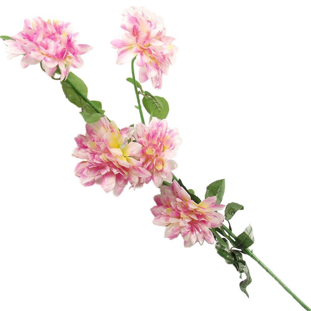 5 Head Glitter Spiky Chrysanthemum Spray Artificial Bling Flowers