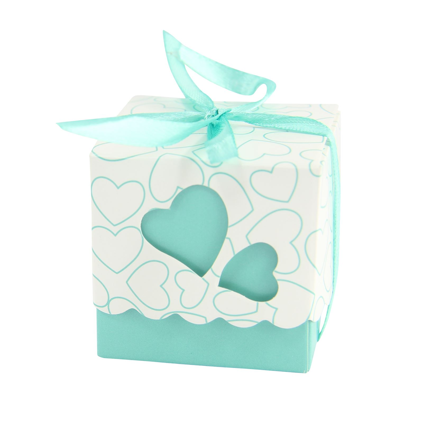 Heart Cube Favour Boxes With Ribbon Wedding Sweet Party Favours ...