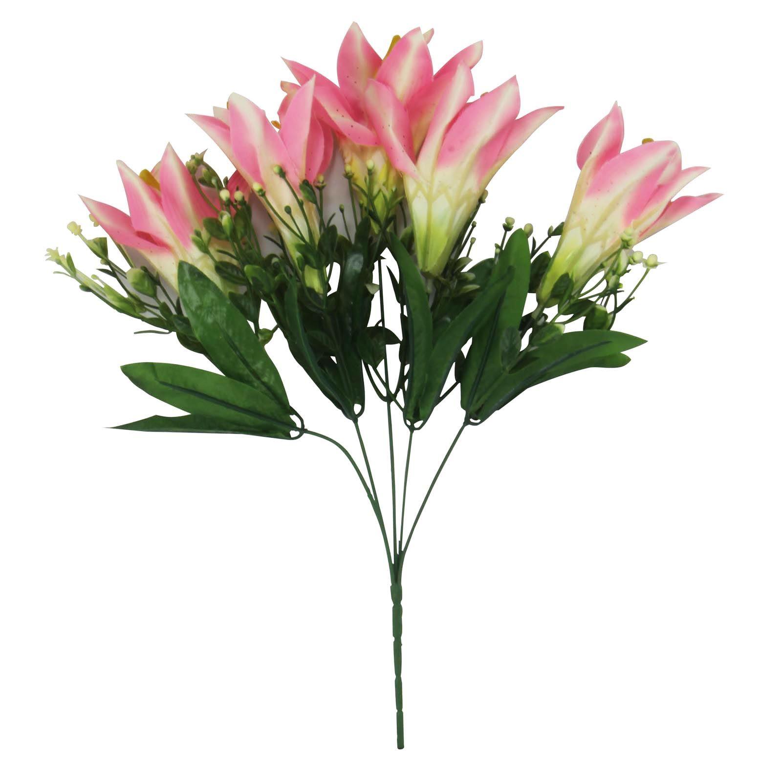 Bouquet Of 5 Stargazer Lilies Artificial Silk Flowers Fake Bunch