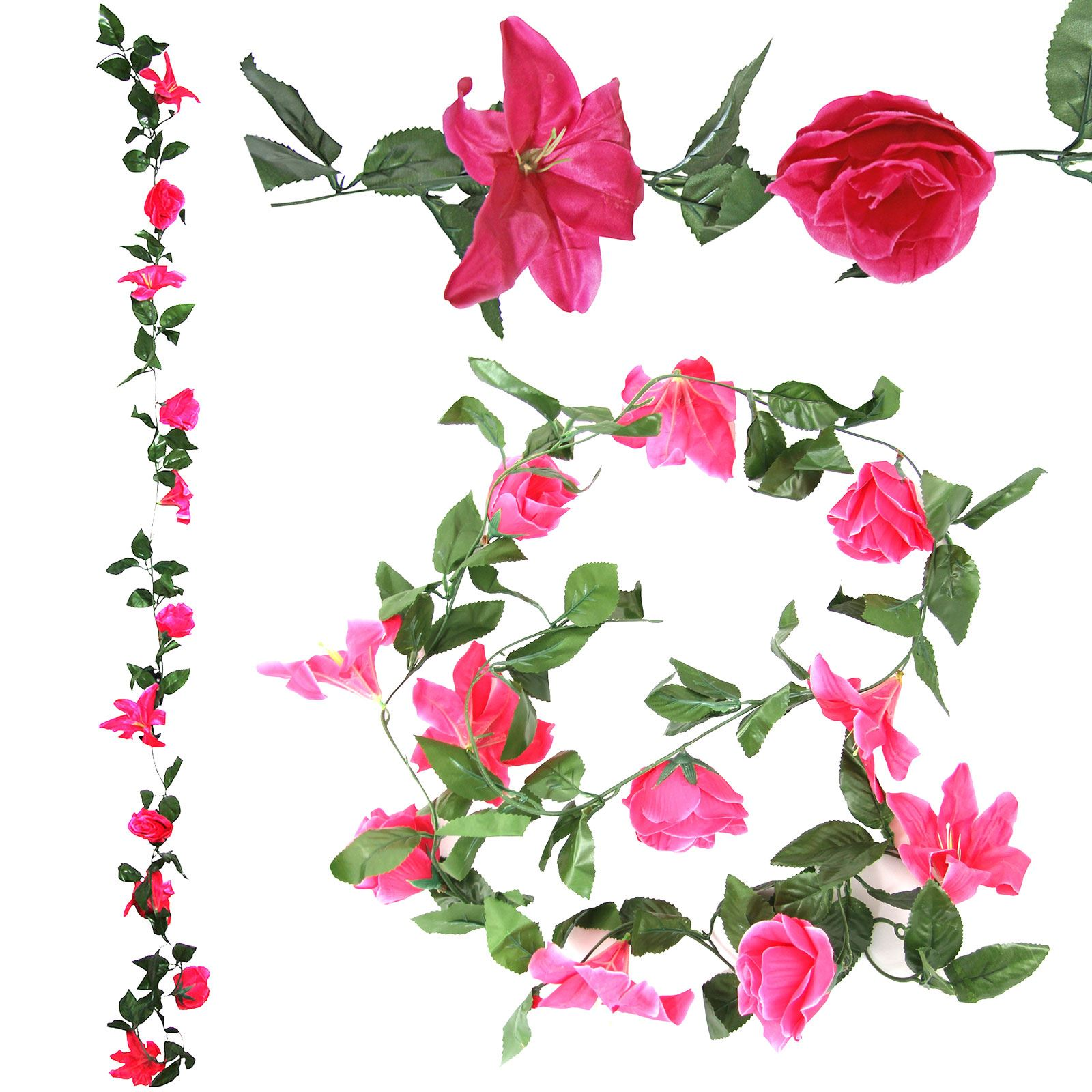 Rose and lily flower garland artificial fake flowers vine ivy artificial fake flowers vine ivy trellis picture 2 of 5 izmirmasajfo