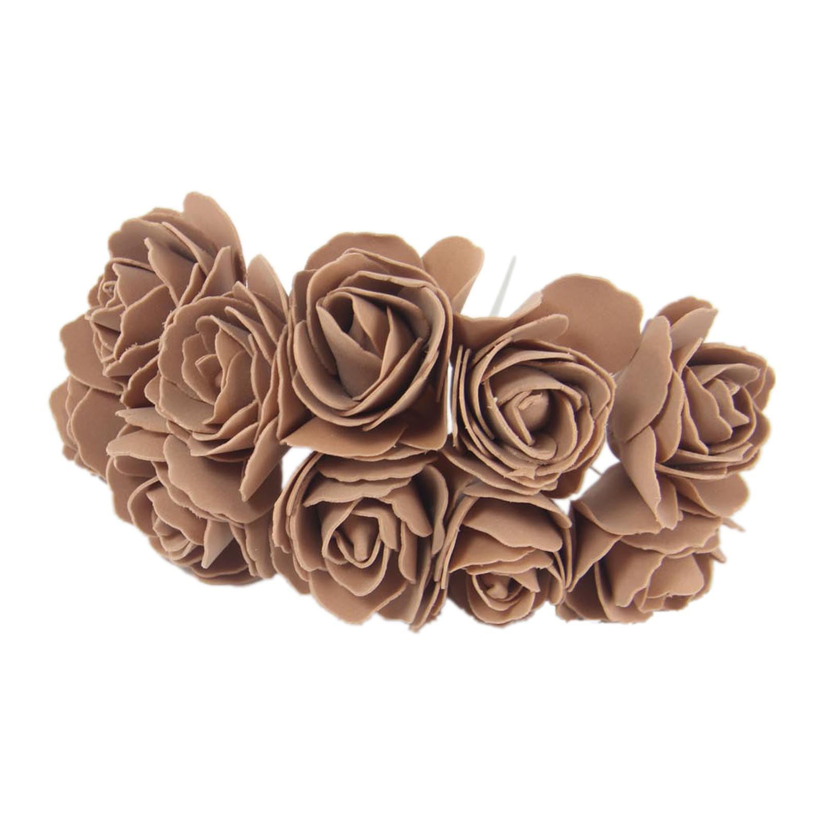 Bunch Of 10 5cm Open Foam Roses Fake Artificial Silk Flowers