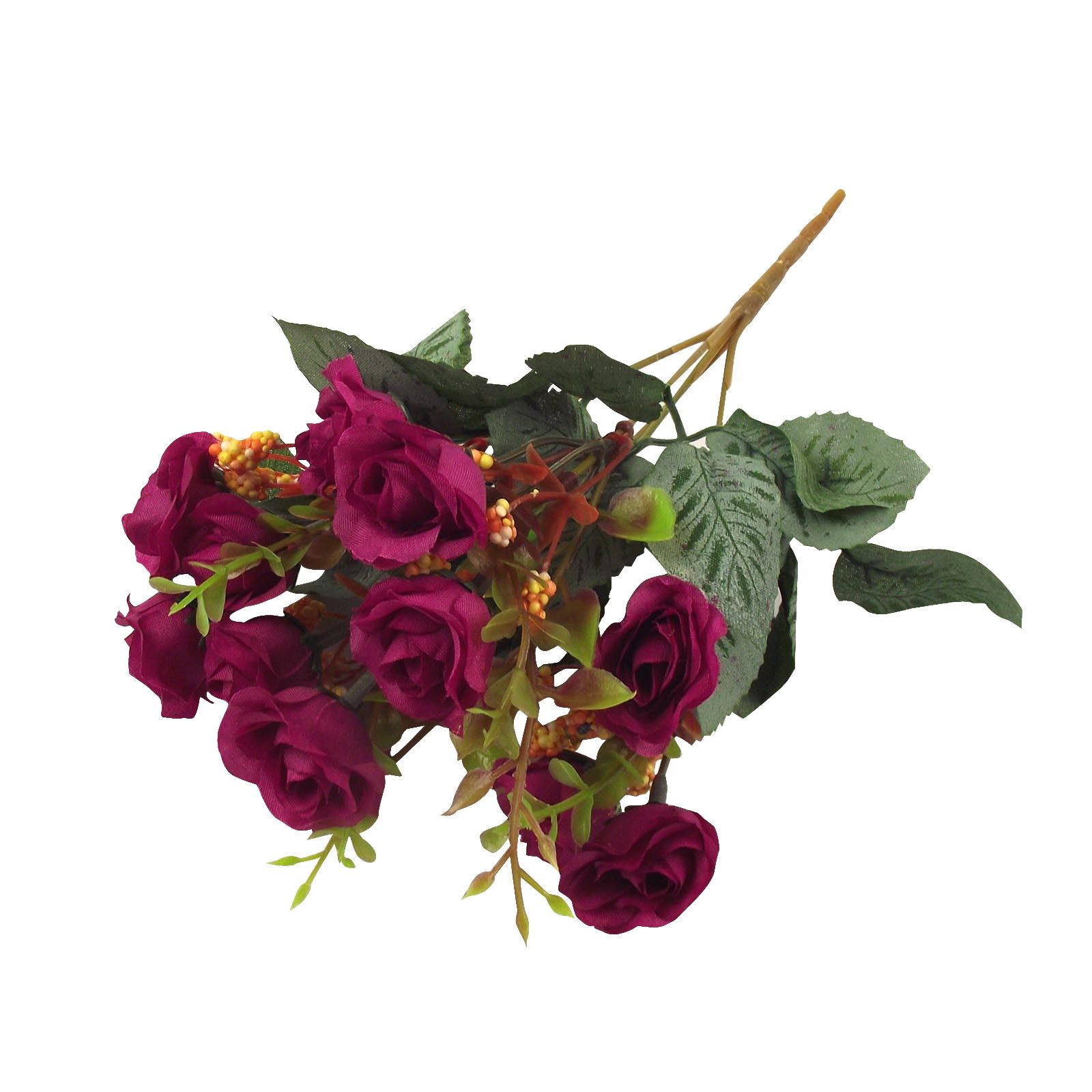15 head small rose bunch bush artificial flowers bouquet fake silk picture 2 of 2 izmirmasajfo