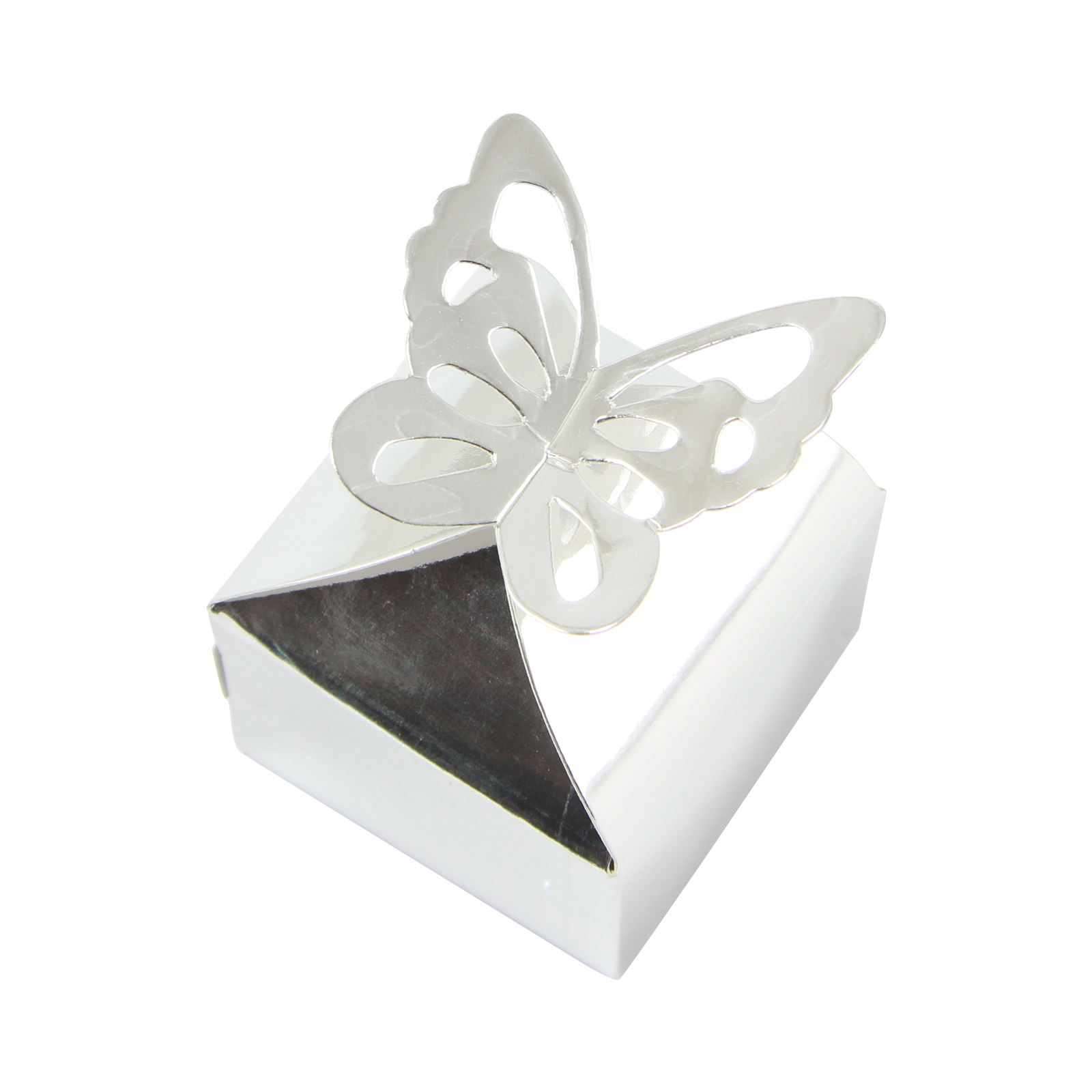 Metallic Chrome Silver and Gold Butterfly Top Favour Boxes Wedding ...