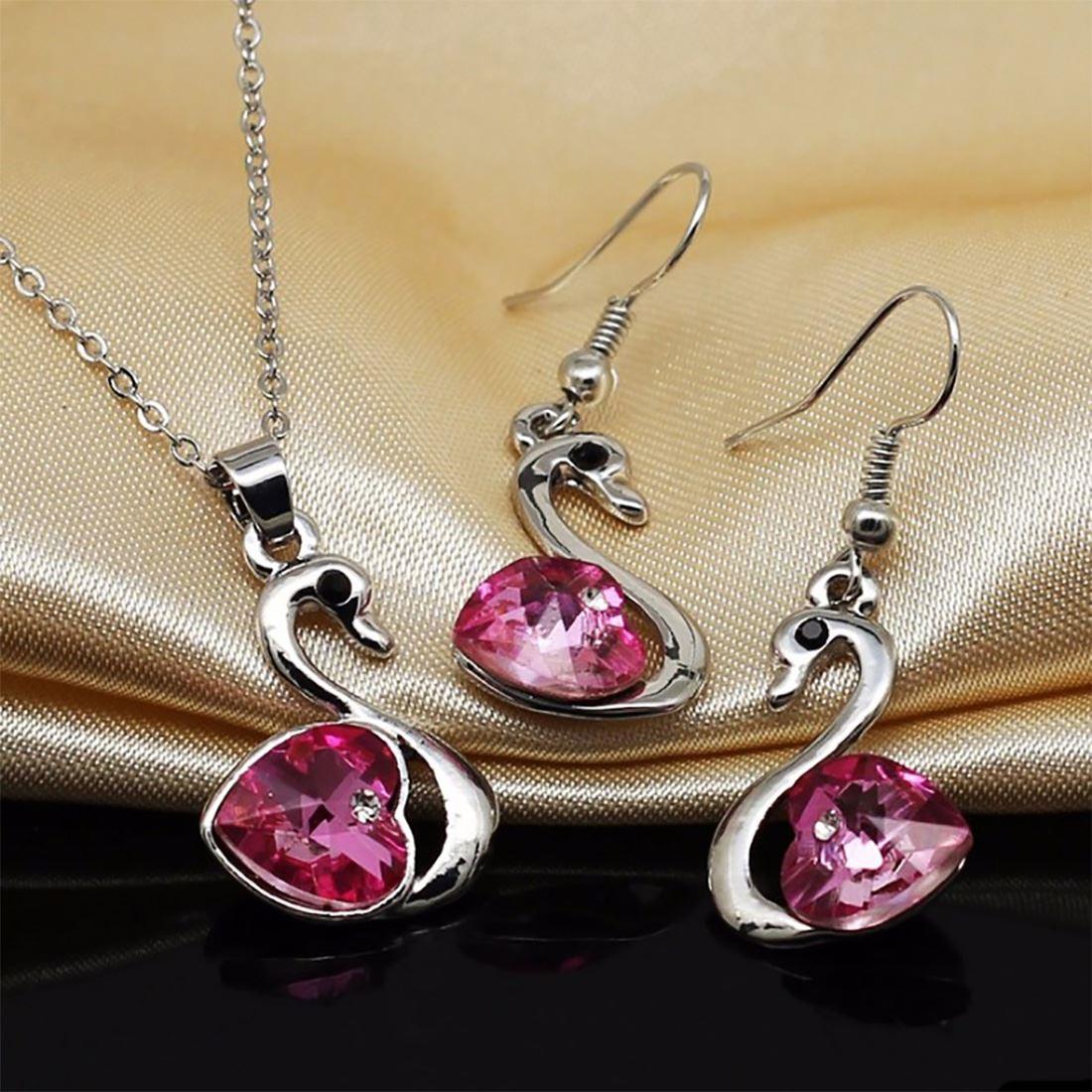 Women/'s Girls Beautiful Light Violet Stone Necklace /& Earrings Jewellery Set UK