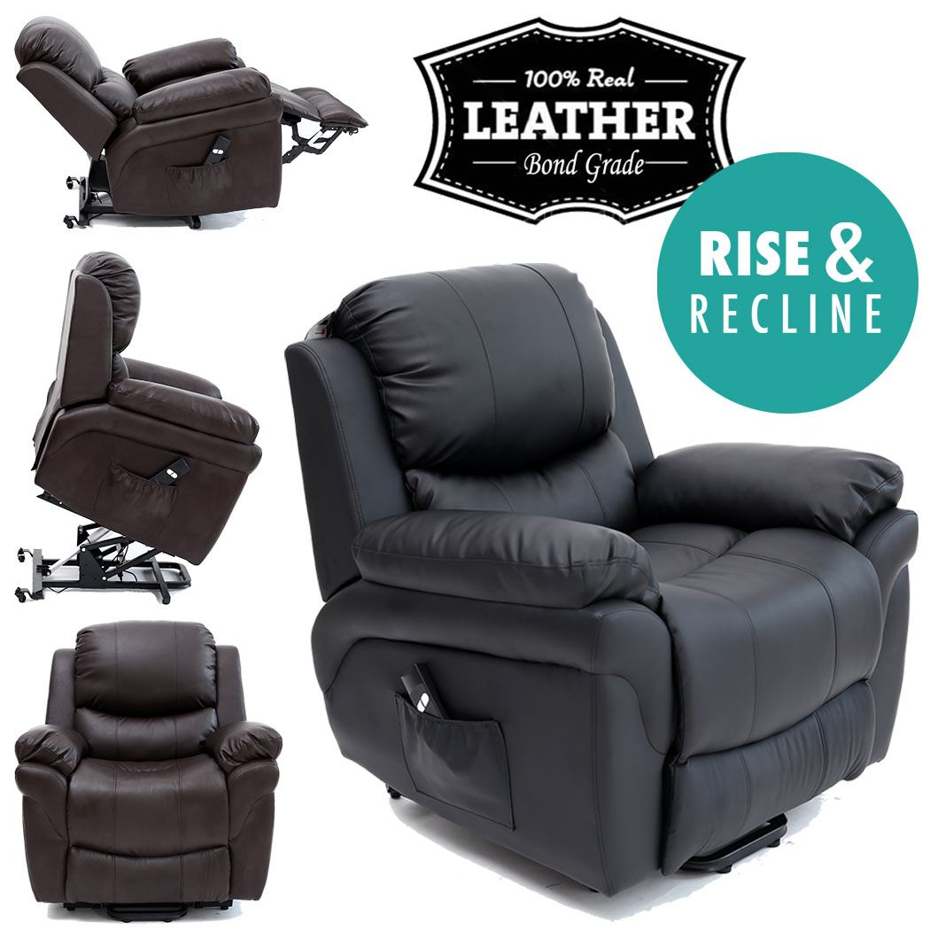 Details about MADISON ELECRTIC RISE RECLINER LEATHER ARMCHAIR SOFA HOME LOUNGE CHAIR