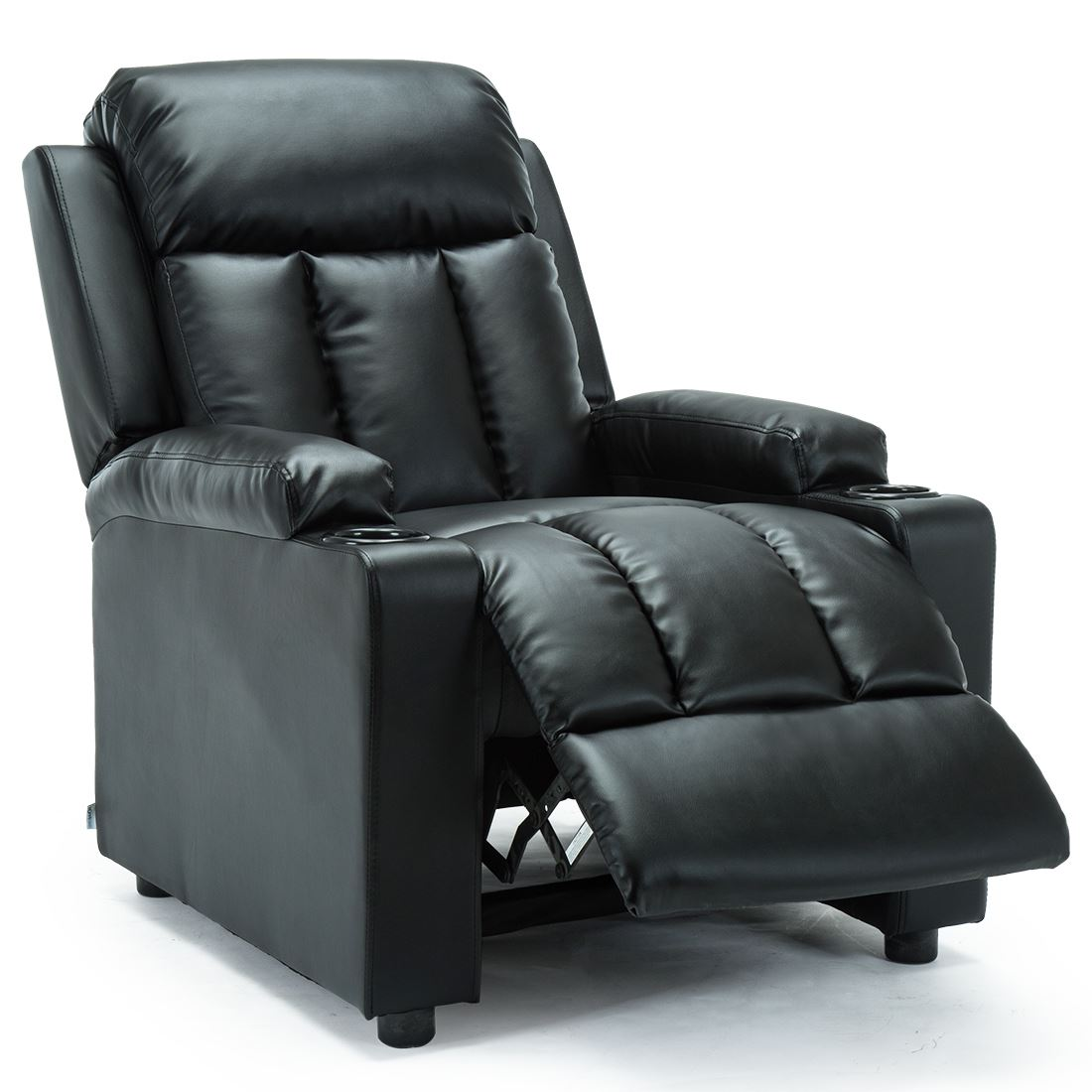 STUDIO-LEATHER-RECLINER-w-DRINK-HOLDERS-ARMCHAIR-SOFA-CHAIR-CINEMA-GAMING thumbnail 5