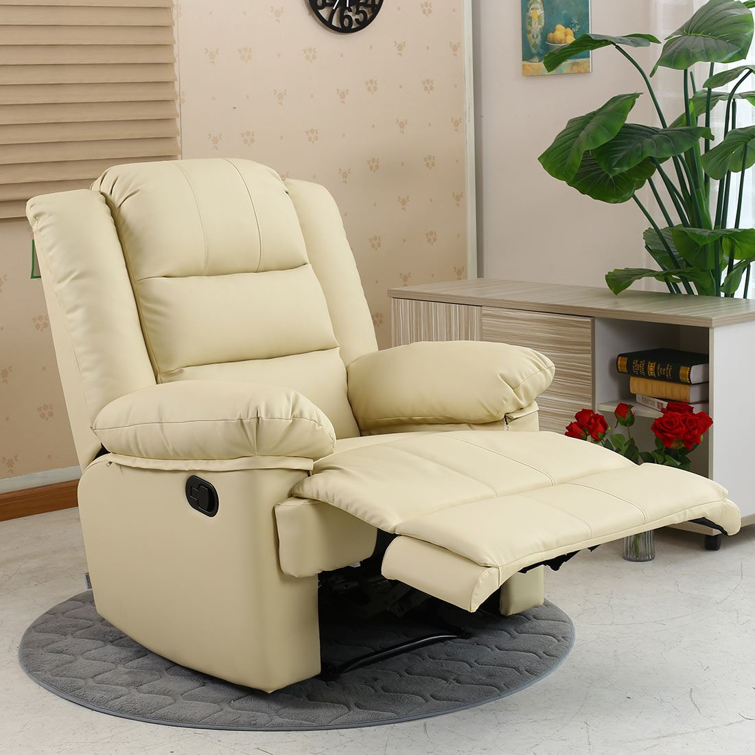 Brown Loxley Leather Recliner Armchair Sofa Home Lounge Chair Reclining Gaming