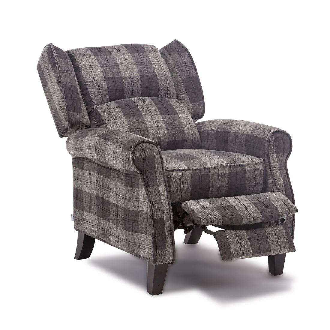 EATON WING BACK FIRESIDE CHECK FABRIC RECLINER ARMCHAIR ...