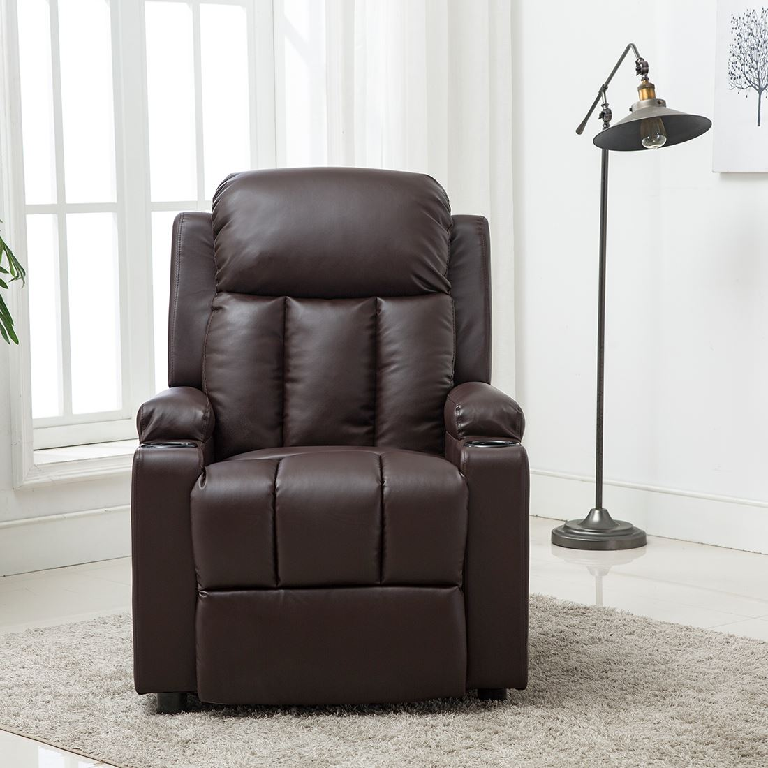 STUDIO-LEATHER-RECLINER-w-DRINK-HOLDERS-ARMCHAIR-SOFA-CHAIR-CINEMA-GAMING thumbnail 12