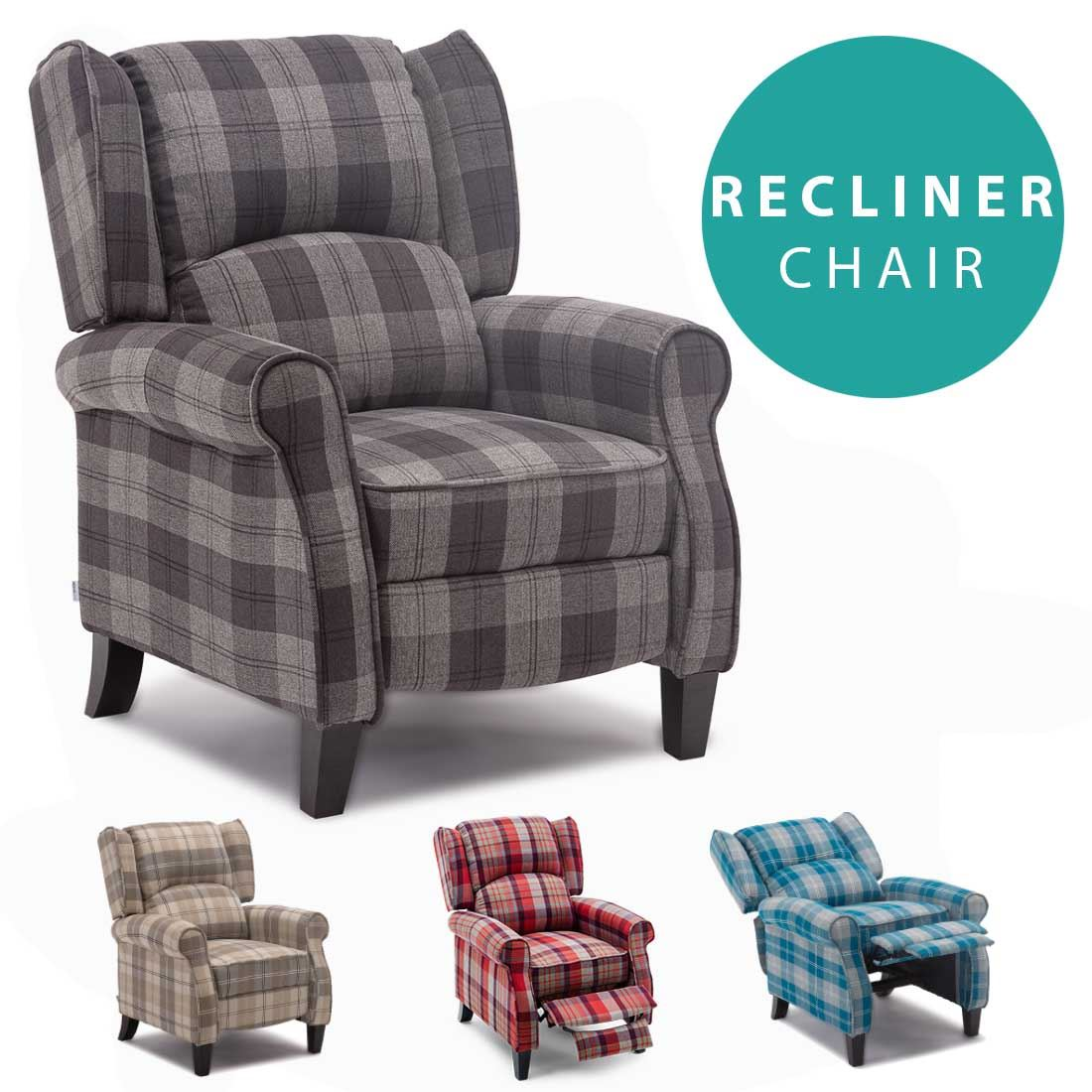 Eaton wing back fireside check fabric recliner armchair sofa lounge cinemo chair