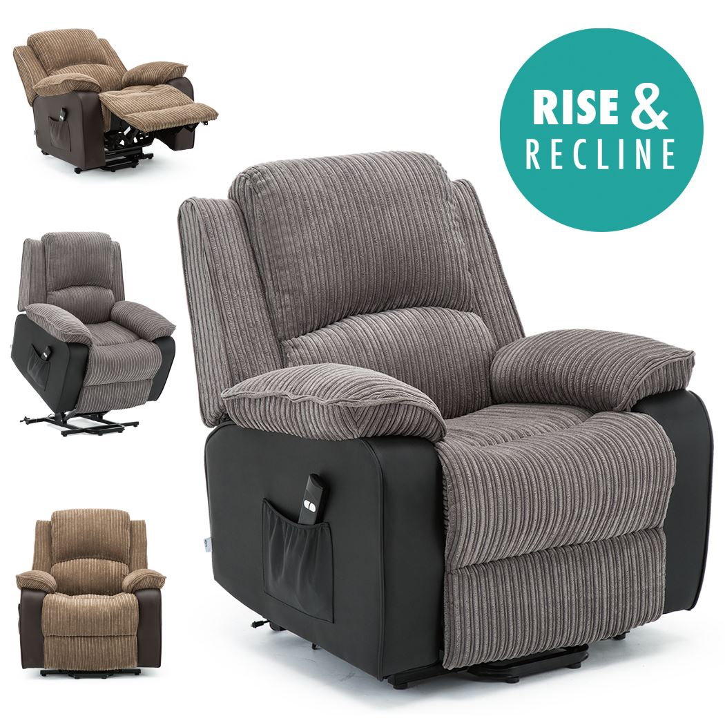 Postana Jumbo Cord Fabric Rise Recliner Armchair Electric