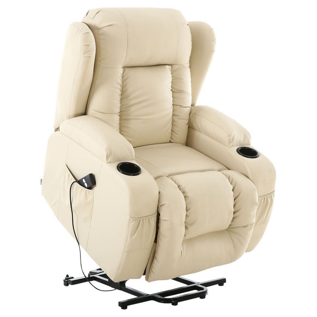 CAESAR CREAM ELECTRIC RISE RECLINER WINGED LEATHER ...