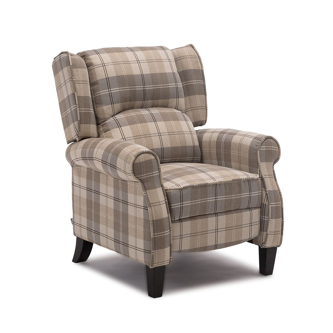 EATON WING BACK FIRESIDE CHECK FABRIC RECLINER ARMCHAIR