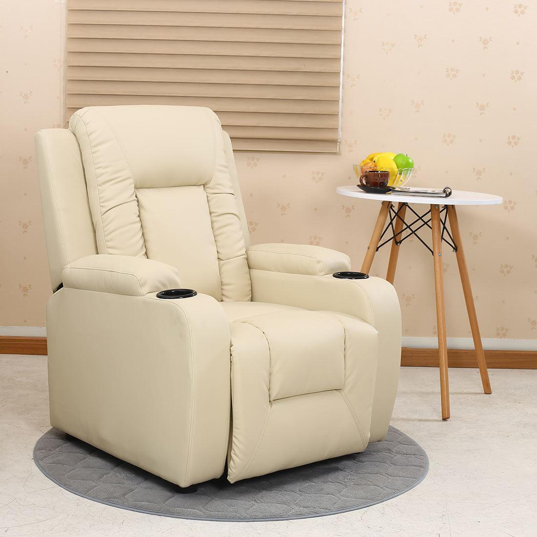 Oscar Leather Recliner W Drink Holders Armchair Sofa Chair Reclining