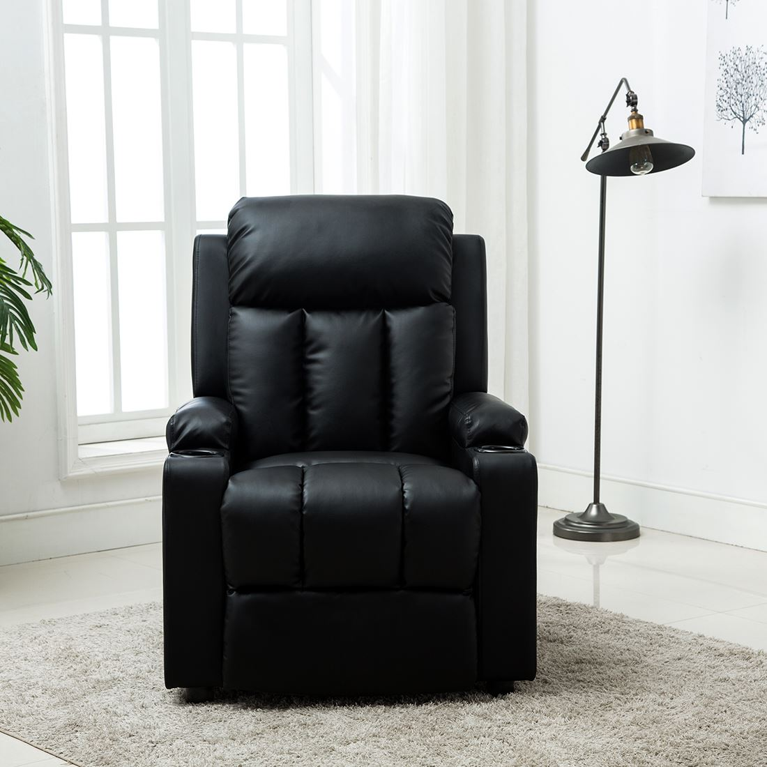 STUDIO-LEATHER-RECLINER-w-DRINK-HOLDERS-ARMCHAIR-SOFA-CHAIR-CINEMA-GAMING thumbnail 3