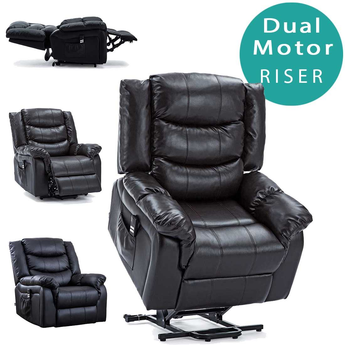 Seattle Dual Motor Riser Recliner Bonded Leather Armchair