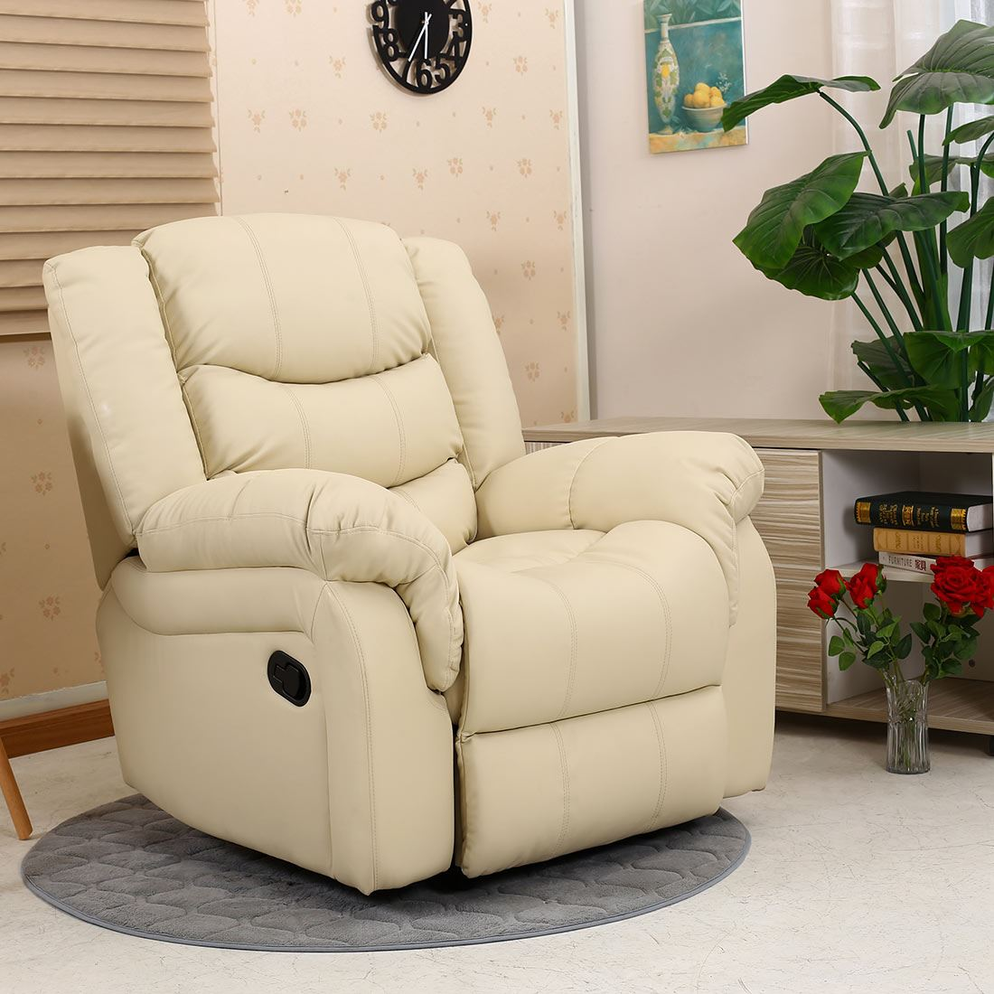 Details about SEATTLE LEATHER RECLINER ARMCHAIR SOFA HOME LOUNGE CHAIR RECLINING GAMING