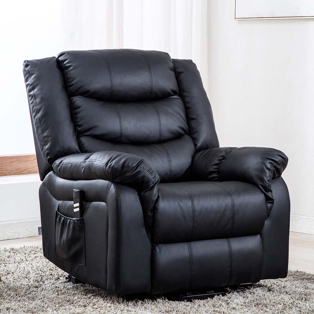 SEATTLE DUAL MOTOR RISER RECLINER BONDED LEATHER ARMCHAIR ...