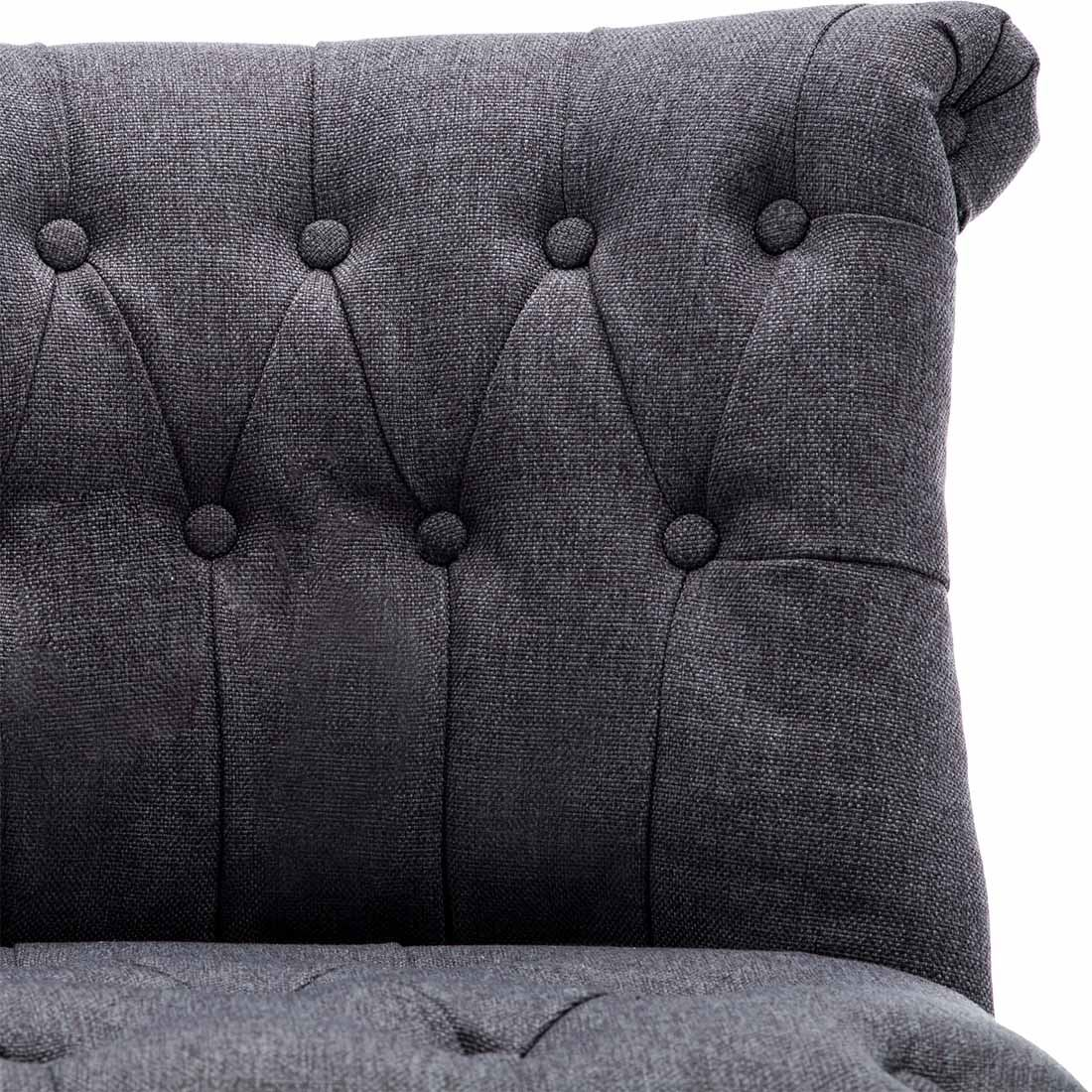 Keela-Velvet-Linen-Button-Back-Occasional-Accent-Bedroom-Lounge-Chair-Tub-Fabric thumbnail 8