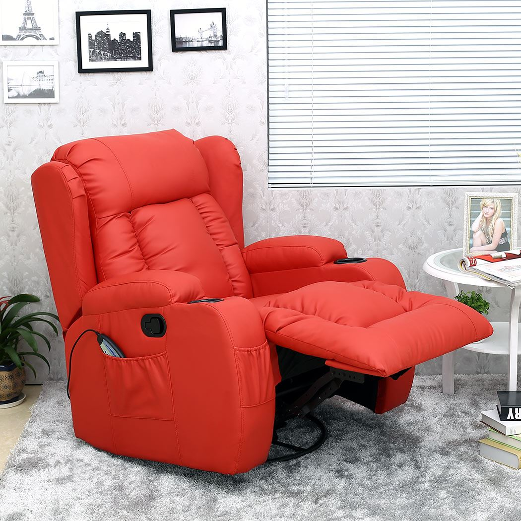Red Leather Reclining Chair caesar 10 in 1 winged leather recliner chair rocking massage