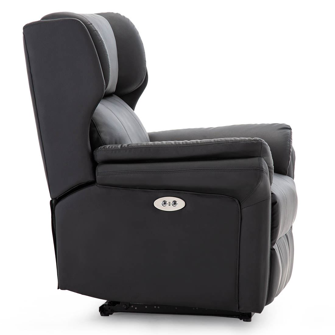 Oakford Electric Bonded Leather Auto Recliner Wing Back