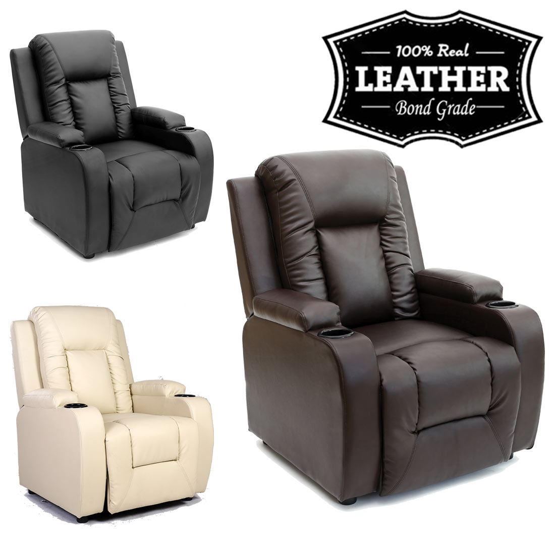 recliner lounge sofa chair amazon real leather uk co dp brown reclining gaming home armchair madison kitchen