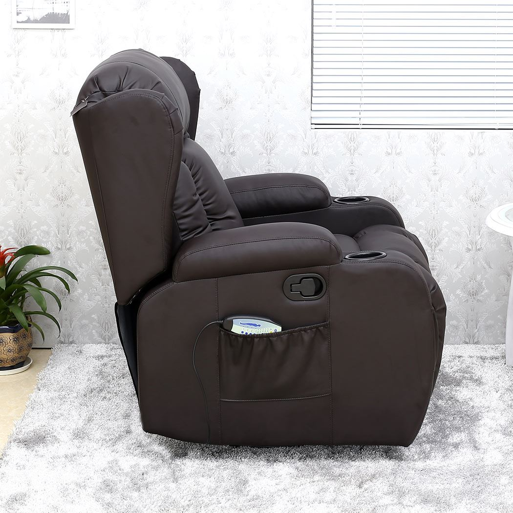 Caesar Brown Winged Leather Recliner Chair Rocking Massage