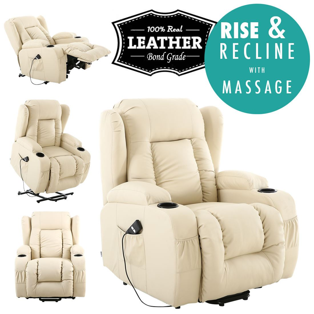 Picture 10 of 10  sc 1 st  eBay & Caesar Cream Electric Rise Recliner Winged Leather Armchair ... islam-shia.org