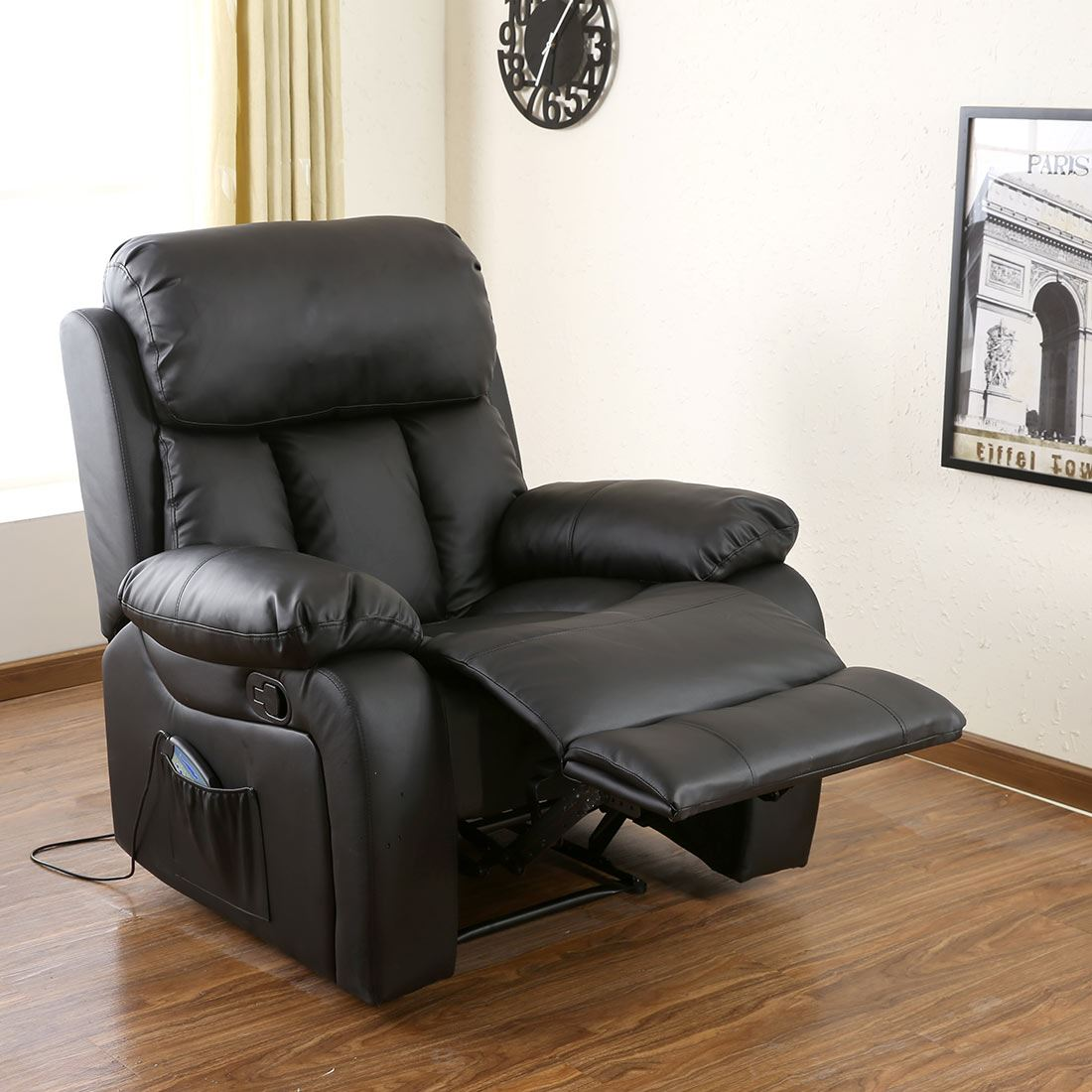 Chester Heated Leather Massage Recliner Chair Sofa Lounge Gaming Home Armchair Ebay
