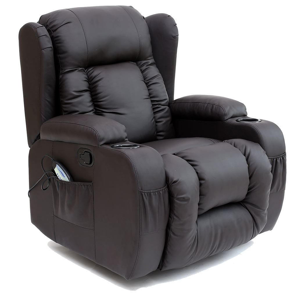 CAESAR 10 IN 1 WINGED LEATHER RECLINER CHAIR ROCKING MASSAGE