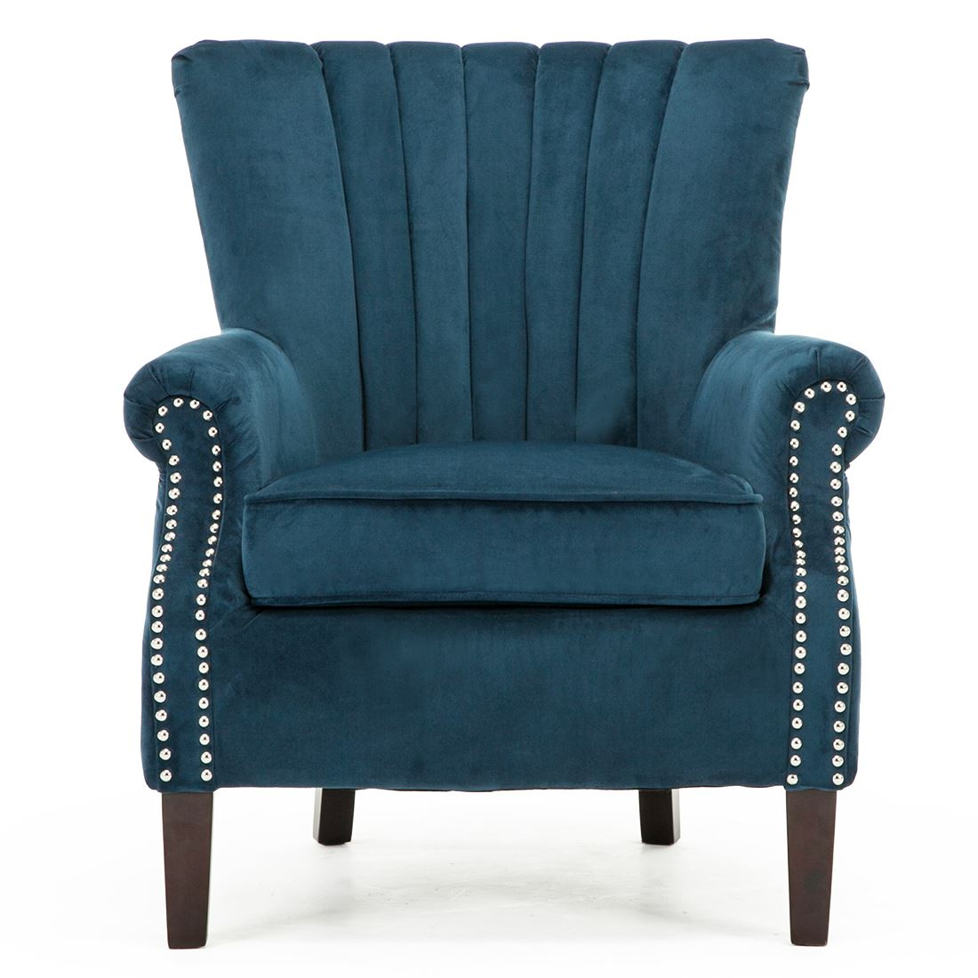 Olenka Velvet Wing Back Occasional Accent Bedroom Armchair