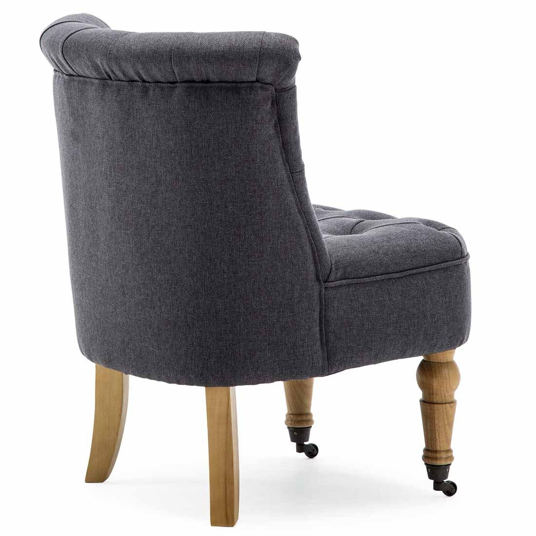 Keela-Velvet-Linen-Button-Back-Occasional-Accent-Bedroom-Lounge-Chair-Tub-Fabric thumbnail 6