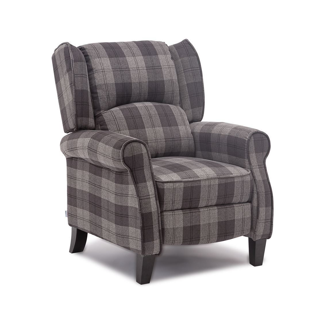Affordable Armchairs: EATON WING BACK FIRESIDE CHECK FABRIC RECLINER ARMCHAIR